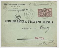 FRANCE MOUCHON 20C PAIRE LETTRE REC EPINAL 14.11.1902 VOSGES + GRIFFE  LINEAIRE AU TARIF - 1900-02 Mouchon