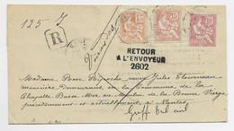 FRANCE MOUCHON 15C ORANGE MIXTE RETOUCHE 10C+15C LETTRE REC NANTES 190? POUR NANTES RETOUR 2602 - 1900-02 Mouchon
