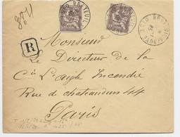 FRANCE MOUCHON 20C RETOUCHE X2 LETTRE REC BRETEUIL S NOYE 31.1.1905 AU TARIF - 1900-02 Mouchon