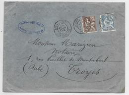 FRANCE MOUCHON 20C MIXTE 25C RETOUCHE LETTRE AVALLON YONNE 3 FEVR 1903 YONNE AU TARIF - 1900-02 Mouchon