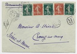 FRANCE SEMEUSE 10C MAIGREX2+5CX3 LETTRE REC PARIS BD PASTEUR 12.10.1907 AU TARIF - 1906-38 Semeuse Con Cameo