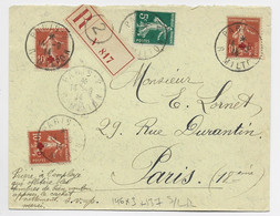 FRANCE SEMEUSE CROIX ROUGE N°146X3+137 LETTRE REC PARIS 2 14.9.14 POUR PARIS AU TARIF - 1906-38 Semeuse Con Cameo