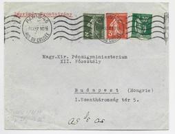 FRANCE SEMEUSE  2C+3C+ 30C PAIX LETTRE PARIS 45 8.IX.1937 POUR BUDAPEST HONGRIE AU TARIF IMPRIME - 1906-38 Semeuse Con Cameo