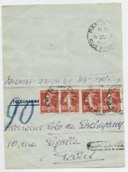 FRANCE SEMEUSE 10C X4 CARTE LETTRE TELEGRAMME PARIS 1917 ¨TROUVE A LA BOITE POUR PARIS PNEUMATIQUE AU TARIF - 1906-38 Semeuse Con Cameo