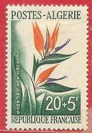 Algérie N°351 20F + 5F Plante Fleur Bec D'oiseau 1958 * - Ongebruikt