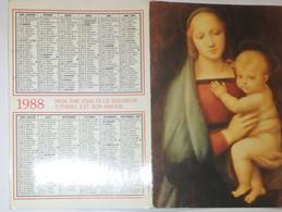 Petit Calendrier 1988 Religieux - Procure Missionnaire De L'Assomption  -Vierge à L'enfant - Small : 1981-90