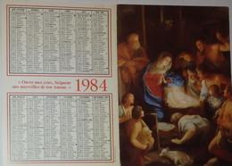 Petit Calendrier 1984 Religieux - Procure Missionnaire De L'Assomption  - Adoration Des Bergers - Small : 1981-90