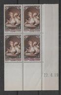France  N° 446  Bloc De 4 Coin Daté **   - Cote : 25 € - 1930-1939
