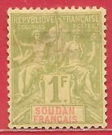 Soudan Français N°15 1F Olive 1894 * - Neufs