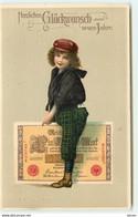 N°17482 - Carte Gaufrée - Enfant à Califourchon Sur Un Billet De Banque - New Year