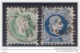AUSTRIA:  1867  EFFIGIE  -  3 K. VERDE + 10 K. BLU  US. -  YV/TELL. 33 + 36 - Gebruikt