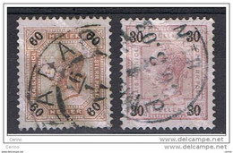 AUSTRIA:  1899/04  LINEE  OBLIQUE  -  60 H.+ 30 H. US. -  YV/TELL. 76a + 89 - Gebruikt