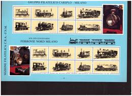 487   -  FERROVIE NORD MILANO - GRUPPO FILATELICO CARIPLO - GRANDE FOGLIO ERINNOFILO - Trains