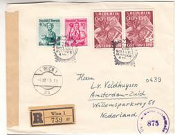 Autriche - Lettre Recom De 1949 - Oblit Wien - Exp Vers Amsterdam - Journée Du Timbre - Valeur 23,50 € ( 20 + 3,5 ) - 1945-60 Cartas