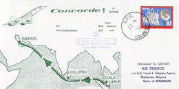 Sri Lanka Concorde Flight Cover: 1976 Colombo - Kuala Lumpur - Bahrain Concorde Air France (DD29-2) - Concorde