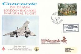 Isle Of Man Concorde Flight: 1977 Douglas - London And Then Concorde To Singapore Inaugural Flight British Airways - Concorde