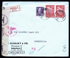 A7136) Dänemark Denmark R-Brief Kopenhagen 13.03.44 N. Chemnitz M. Deutscher Zensur - Brieven En Documenten
