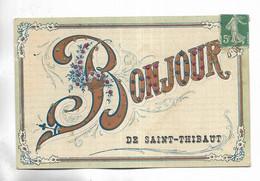 """21 - Carte Fantaisie """"  Bonjour De SAINT-THIBAUT""""  - Ornée De Petits Brillants - Other Municipalities"""