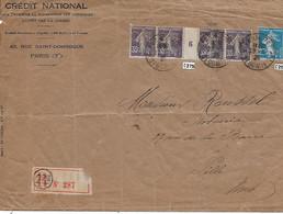 Env. Crédit National Paris 1926 - Perf. CN 275 Sur Semeuse 35c - Bande Millésimée - Perfins