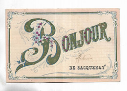 """21 - Carte Fantaisie """"  Bonjour De SACQUENAY """"  - Ornée De Petits Brillants - Other Municipalities"""