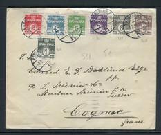 Danemark - Enveloppe De Copenhague Pour Cognac ( France ) En 1938, Affranchissement 7 Couleurs - Prix Fixe !! - Ref S 21 - Brieven En Documenten