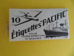 Carnet Complet 10 Etiquettes à Bagages Marque PACIFIC - Pour Air France DC 10 Ou Caravelle Ou Bateau Paquebot France - Baggage Labels & Tags