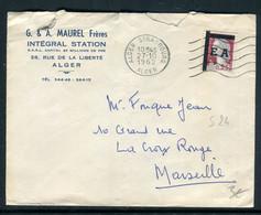 Algérie - Marianne De Décaris Surchargé E.A. Sur Enveloppe Commerciale D'Alger En 1962 - Prix Fixe !! - Ref S 24 - Argelia (1962-...)