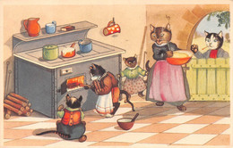 Chat - Chatons - Cuisine - Cuisiner - Fourneau à Bois - Cuisinière - Lait Qui Déborde - Casserole - Dressed Animals