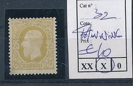 BELGIUM COB 32 CHARNIERE MET PLAKKER THINNING ON A CORNER - 1869-1883 Léopold II