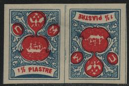 "Russia / ""Wild"" Levante 1919 - * - MH - 1 1/2 Piastres - Blau-rot - Tete-Beche - Levant"