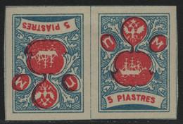"Russia / ""Wild"" Levante 1919 - * - MH - 5 Piastres - Blau-rot - Tete-Beche - Levant"