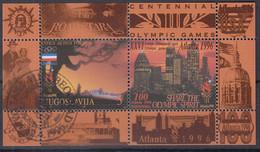 JUGOSLAWIEN  Block 44, Gestempelt, Olympische Sommerspiele, Atlanta, 1996 - Blocks & Kleinbögen