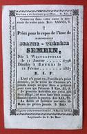 Anno 1837 Doodsprentje Décés - JEANNE SEMEIN - WESTKAPELLE - BRUGGE - Devotion Images