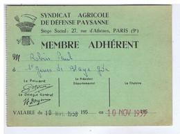 PARIS - Syndicat Agricole De Défense Paysanne - Carte De Membre Adhérent - 27 Rue D'Athènes 9e - Documents Historiques