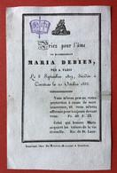 Anno 1835 Doodsprentje Décés - MARIA DEBIEN - PARIS - KORTRIJK - Devotion Images