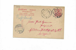 Antwortkarte Aus Riga Nach Eisleben 1906 - Covers & Documents