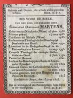 Anno 1825 Doodsprentje Décés - PRIESTER - FRANCISCUS MARTENS - NIEUWKERKE WAAS - MELSELE - GENT - LEUVEN - HAMME - Devotieprenten