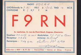 (erinnophilie) Cognac (16 Charente)   Carte QSO (radio Amateur) 1956 (2, Vignettes QSL Au Verso) (PPP31803) - Cognac