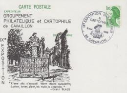 Carte  Entier  Postal   Repiqué    FRANCE    IXéme   Exposition   Philatélique    CAVAILLON   1986 - Esposizioni Filateliche