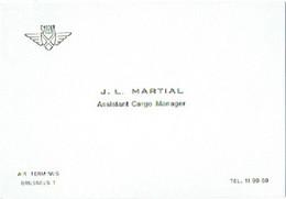 Carte Visite.  SABENA. Air Terminus, Brussels 1. J.L. Martial Assistant Cargo Manager. - Visitekaartjes
