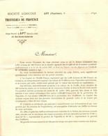 . S . AGRICOLE DES TRUFFIERES DE PROVENCE . APT 1892. ACTIONS SOUSCRIPTION - Documents Historiques