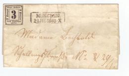 Lettre Allemagne Baviere Timbre Taxe N°1 Brief Cachet Munchen 1863 - Bavière
