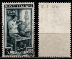 Italia Al Lavoro 5 Lire Filigrana Ruota 1 Destra Alta - 1946-60: Gebraucht