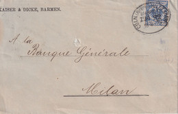 ALLEMAGNE 1892 LETTRE DE BARMEN  ZUGSTEMPEL CÖLN-HILDESHEIM - Covers & Documents