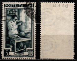 Italia Al Lavoro 5 Lire Filigrana Ruota 1 Sinistra Bassa - 1946-60: Gebraucht