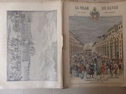 """Protège Cahier La Ville Du Havre (76) """"illumination De La Grande Rue En 1749"""" Signé G. Dascher Illustrateur. - Unclassified"""