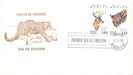Mexico:FDC, Mexico Fauna, Otselot, Puma, Mountain Lion, Deer, 8.09.1978 - Mexiko