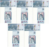Guatemala - 5 Pcs X 20 Quetzales 2021 UNC 200 Years Independence Comm. Lemberg-Zp - Guatemala
