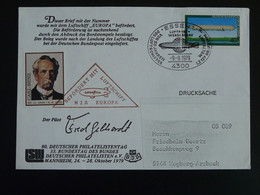 Lettre Commemorative Cover Dirigeable Airship Europa Vignette Carl Benz Cinderella 1979 Germany Ref 99539 - Zeppelins