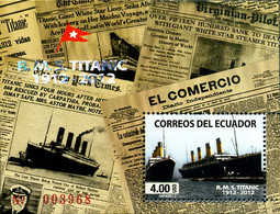 Ref. 279992 * NEW *  - ECUADOR . 2012. HUNDREDTH ANNIVERSARY OF THE WRECK OF THE TITANIC. CENTENARIO DEL NAUFRAGIO DEL - Ecuador